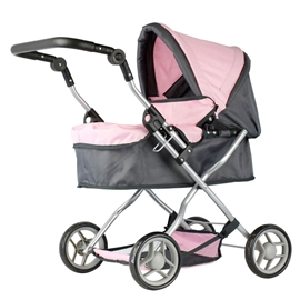 Mini Mommy dukkevogn rosa/grå